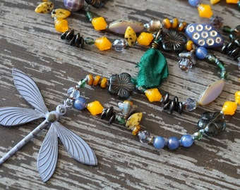 Unlisted - Boho Long Purple Necklace - Knotted Necklace - Fall Jewelry - Dragonfly Necklace - Bead Soup Jewelry