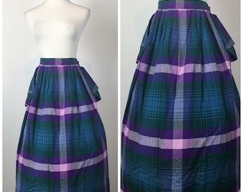 Vintage  1960s rainbow striped plaid pinup Wiggle Skirt 60s Skirt 9029