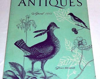 Vintage April 1952 ANTIQUES Magazine with 18th Century Mark Catesby Art  Cock of American Woods on the Cover