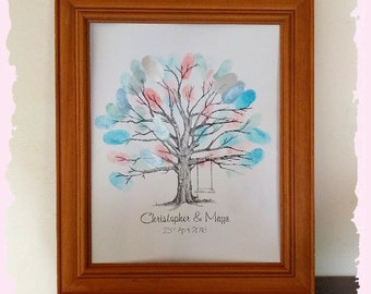 Personalised Fingerprint Guest Book Sign Guestbook Engagement Wedding tree A4
