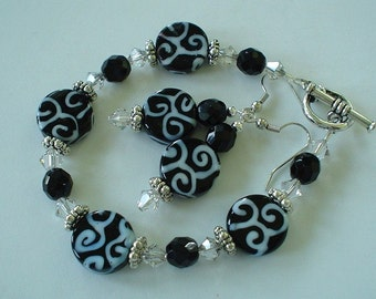 READY TO SHIP Black and White Lampwork and Swarovski Beaded Bracelet Set