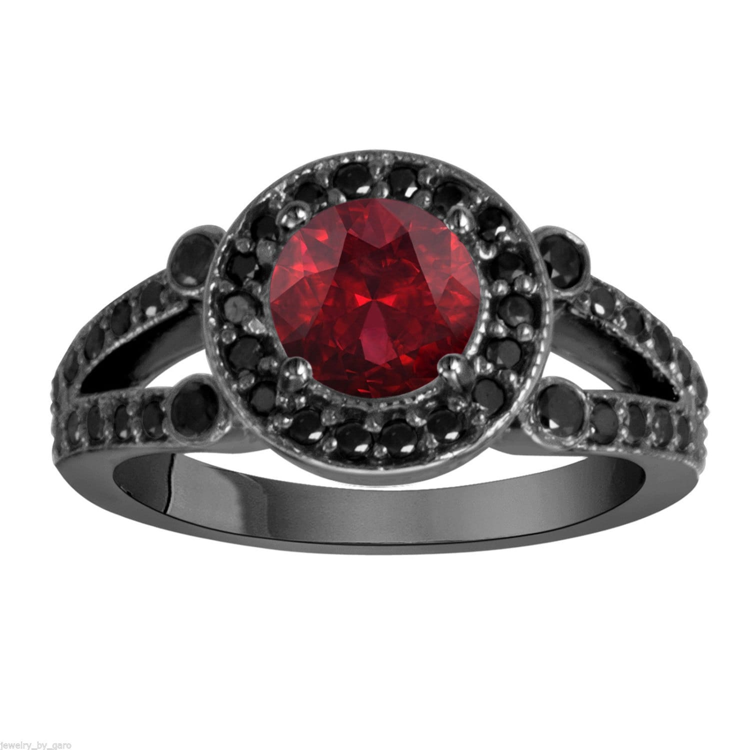 pin her gold mens ring bridal black red his set wedding garnet women trio rings bands s