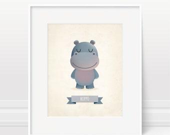 Hippo art print, nursery art, illustration, animal art, kid's room decor, children art, hippo kids print, nursery print, new baby gift