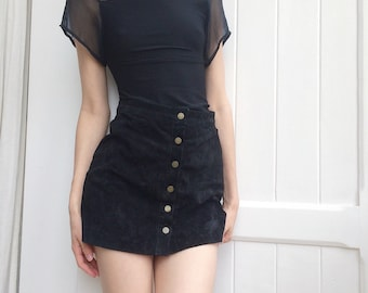 Small Black Tight Top with Black Application
