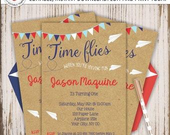 Paper Plane Invite, 1st Birthday, Airplane Birthday Invitation, Paper Airplane First Birthday, How time flies, Editable, INSTANT DOWNLOAD