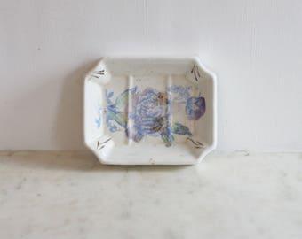 Antique Ironstone Transfer Soap Dish, Victorian White Porcelain, Flower, Farmhouse, Shabby Chic