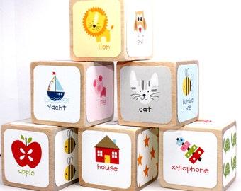 Wood Blocks - Alphabet Blocks - ABC - Baby Shower Gift - Table Centerpieces - Educational Blocks - Baby Shower Decor - 2 Inch