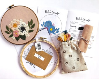"Floral Embroidery Kit // 6"" hoop // DIY embroidery kit // DIY home decor // Stitch Guide// embroidery kit// Embroidery pattern // Flower art"