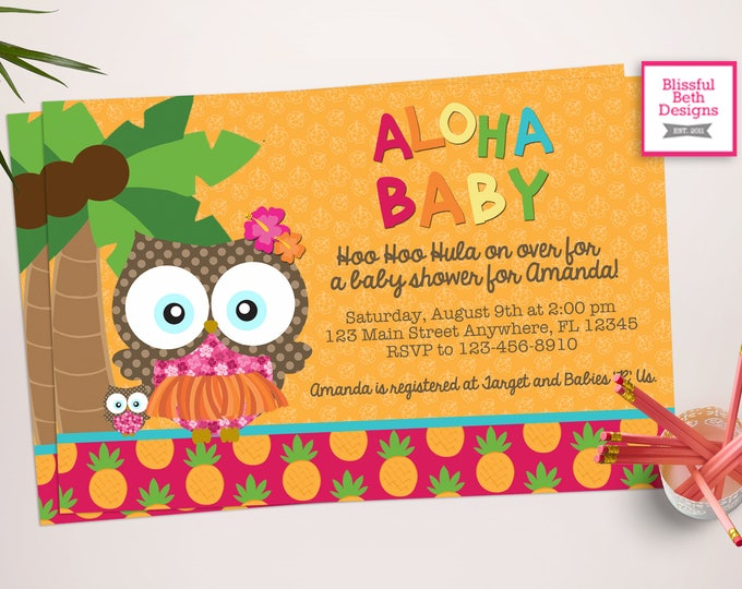 ALOHA BABY SHOWER, Lu-owl, Aloha Baby, Luau Owl, Owl Shower, Owl Invite, Luau Invitation, Aloha Owl Invite, Luau Shower, Aloha Shower