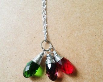Purple, Green, Red, anti tarnish silver wire wrapped crystal pendant on Sterling silver necklace, Multi color pendant necklace