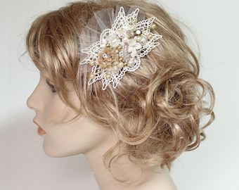 Gold Bridal Comb- Bridal Hairpiece- Pearl Bridal hairpiece- Vintage Inspired Comb- Wedding Hair Comb- Fascinator-  Bridal Hair Accessories