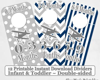 Printable 12 Baby Toddler Double-Sided Closet Dividers Navy Grey Bi-planes Sizes NB-6 - DIY Instant Download - Shower Gift Nursery