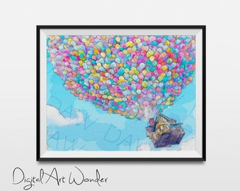 Up - Disney Movie - Watercolor Painting Print