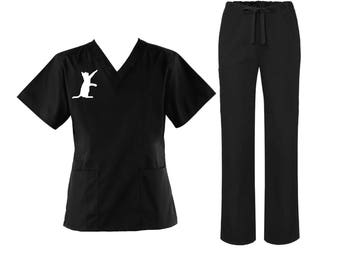 Cat scrub top and pant sets