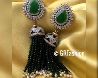 Beautiful high quality silver long green beads earrings