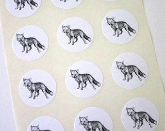 Fox Stickers One Inch Round Seals