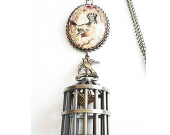 Necklace birdcage watch dial and cabochon