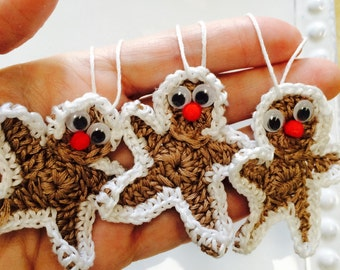 Crochet Gingerbread men Garland or ornament set of 4, festive decor, Eco-friendly