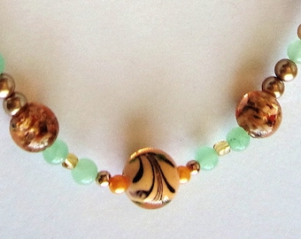 JADE, PEARL and Painted Glass Beads Mantinee Necklace