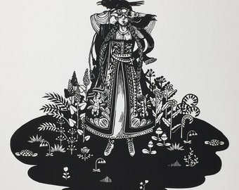 Crow Lady No.4 - Original Handcarved Linocut Linoprint, B/W Limited edition featuring Mythical Motif with Woman and Raven