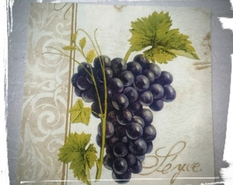 1 Single Decoupage paper Napkins,Grapes,France,Tissue Paper Napkins for Decoupage,Mix Media,party napkins,Serviettes,Arts paper ,Craft