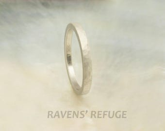2mm women's hammered platinum wedding band / stacking ring with matte finish