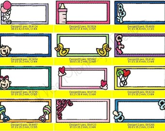 Baby Tags machine embroidery designs set of 12