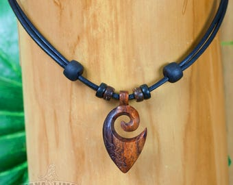 Leather necklace Surfer necklace Surf jewelry wood carving HANA LIMA ®