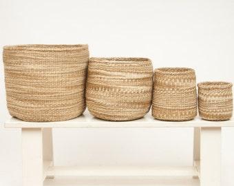 MCHANGA: Khaki Cloud Woven Storage Basket