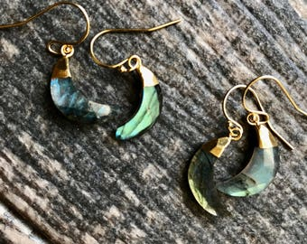 Labradorite Earrings,Gold Labradorite Earrings,Labradorite Gold Earrings,Crescent Moon Earrings,Labradorite Jewelry,Labradorite Gold,Moon