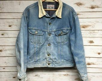 Vintage / Rare / Storm Rider / Lee / Denim / Wool Jacket / 70's / 80's / Corduroy / Minimal / Retro Zx8rJ6hV