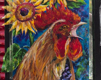 CROWING ROOSTER and SUNFLOWERS ** Rooster art**Rooster painted on Screen Door