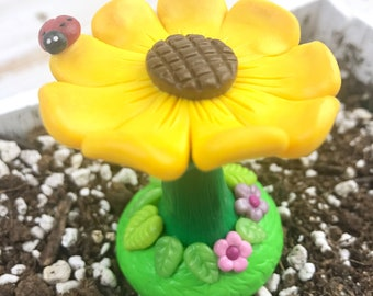 Fairy garden accessories, flower bird bath, gnome accessories, garden, polymer clay, sunflower