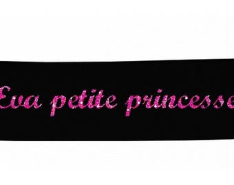 Little black baby Princess personalized with name banner