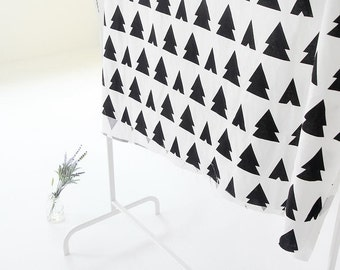 Black Trees White Cotton Fabric - By the Yard - Black and White Patterns 80020