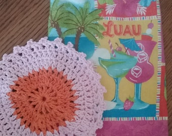 Hawaiian Luau Kitchen Towel with Yellow Topper and Pink Dishcloth