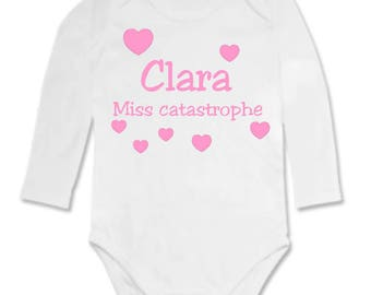 Bodysuit Miss disaster personalized with name