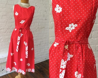 Malia Vintage Red Dress with White Polka Dots and Flower Pattern