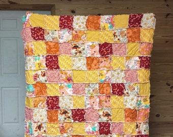 Quilt, king queen full twin, Rag Quilt, YOU CHOOSE SIZE, Wanderlust fabrics, red orange golden yellow, comfy cozy handmade bedding, sham