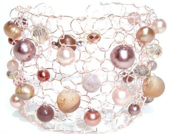 Rose Gold Bracelet, Druzy Bracelet, Beaded Bracelets, Agate, Arm Cuff Bracelet, Blush Jewelry, Valentine Gift For Her, Handmade Jewelry