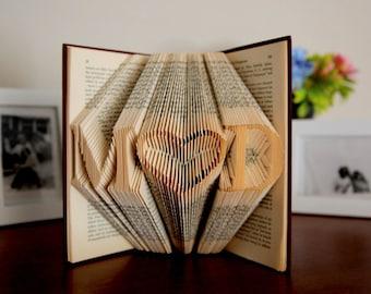 Origami Book Anniversary Gift,  First Anniversary Gift, 1st Anniversary Gift, Paper Gift For Him, Folded Book Sculpture Initials, Custom Art