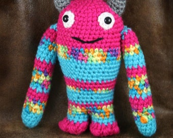 Matilda Monster - multi-colored, small stuffed crochet toy