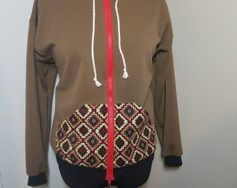 Women's Zip Hoodie, Brown with Aztec Print Accent Pocket
