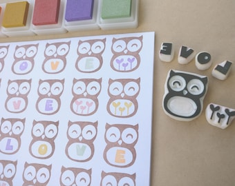 Owl Love - Set of 6 Handcarved Rubber Stamps