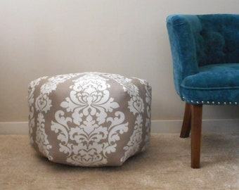 Grey pouf, Damask floor pouf, foot stool, Moroccan Pouf Ottoman