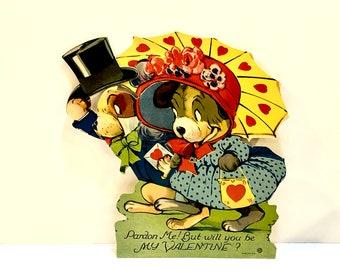 Vintage 1930s, Valentine Card, Mechanical Dogs, Die Cut, Stand Up Card, Large Valentine, Valentines Ephemera, C Twelvetrees, Louis Katz