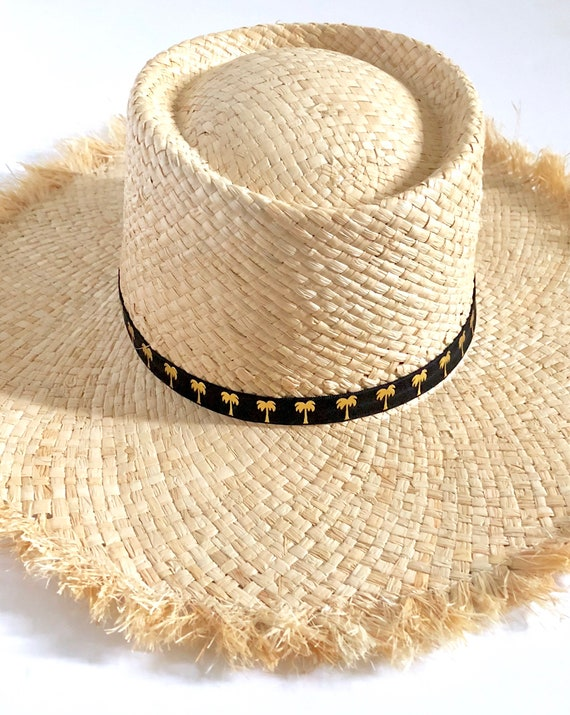 Palm Tree Straw Hat | summer hat | Aloha Hat| Hawaii Hat| Straw Hat| Beach Hat| black Hat|Sun Hat