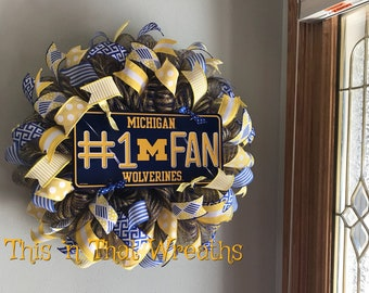 Michigan Wolverines Football Sports College Collegiate Blue Yellow Decomesh Door Welcome Mesh Wreath