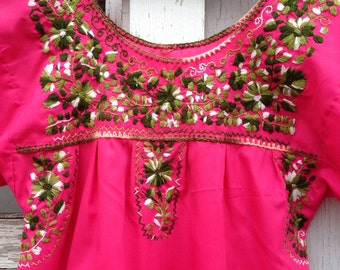 Vintage Pink Embroidered Mexican Dress