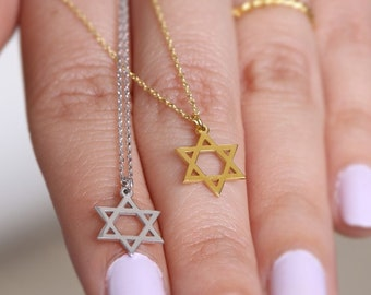 Dainty star, Star of David,  Star necklace,  Solid gold necklace,  Star charm necklace, Star pendant,  Gold star necklace